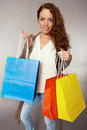Woman has fun on spending spree Royalty Free Stock Photo