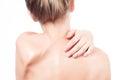 Woman Has Neck Pain. Nude Shou...
