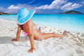 Woman hat relaxing holiday andaman sea thailand Stock Image