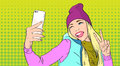 Woman In Hat Vest Taking Selfie Photo Smart Phone Peace Gesture Pop Art Retro Style