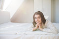 Woman have fine on her bedroom. Young lady enjoying her morning Royalty Free Stock Photo