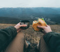 Woman Have Lunch On Nature