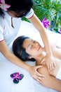 Woman having body masssage Stock Photos