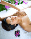 Woman having chest massage Royalty Free Stock Images