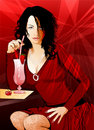 Woman Having A Drink Royalty Free Stock Photos