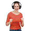 Woman having fun with music headphones young Stock Photography