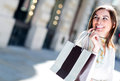 Woman having fun shopping Stock Photography