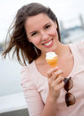Woman having an ice cream Stock Photo