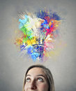 Woman having an idea beautiful young a colorful Stock Photo