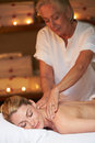 Woman having massage in spa back Royalty Free Stock Photo