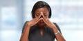 Woman having a migraine headache. Royalty Free Stock Photo