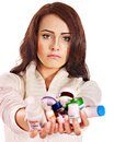 Woman having pills and tablets. Stock Photo