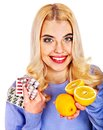 Woman having tablets and lemon remedy isolated Royalty Free Stock Photography