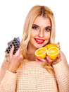 Woman having tablets and lemon remedy isolated Stock Photography