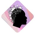 Woman head profile with extravagant star patterned hairstyle on pink wavy background black and white stylization female face pro Royalty Free Stock Images