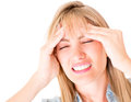 Woman with a headache Royalty Free Stock Image