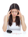 Woman with headache look on pills medicine tablets Royalty Free Stock Photo