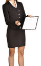 Woman headless holding a pen and clipboard Stock Photos