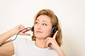 Woman with a Headset Royalty Free Stock Photography