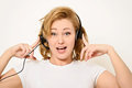 Woman with a Headset Royalty Free Stock Image