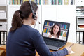 Woman headset video call tutor Royalty Free Stock Photo