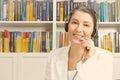 Woman headset vintage filter effect