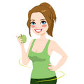 Woman healthy apple diet beautiful young holding a green showing concept Royalty Free Stock Photos