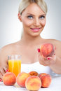 Woman with healthy drink young beautiful fresh juice Stock Image