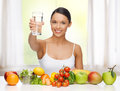 Woman with healthy food Stock Photography