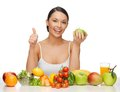 Woman with healthy food beautiful showing thumbs up Royalty Free Stock Photography