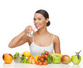 Woman with healthy food beautiful and water Royalty Free Stock Photography