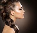 Woman with healthy long braid hair beautiful hair Stock Images