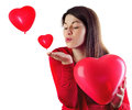 Woman   with  heart shaped balloons Royalty Free Stock Photo