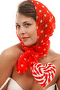 Woman with heart shaped lollipop Stock Photo