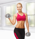 Woman with heavy steel dumbbells Royalty Free Stock Photos