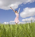 Woman with her arms raised Royalty Free Stock Photos