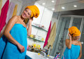 Woman in her bathroom Stock Photos
