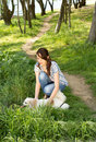 Woman and her dog out walking Royalty Free Stock Photo