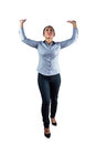 Woman with her hands and arms raised upwards against a white background Royalty Free Stock Photography