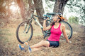 Woman with her mountain bike Royalty Free Stock Photo