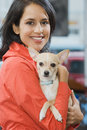 Woman with her pet chihuahua Royalty Free Stock Photo