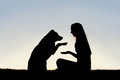 Woman and her pet dog outside shaking hands silhouette a happy girl is sitting in the grass with german shepherd silhouetted Royalty Free Stock Photos