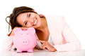 Woman with her savings Royalty Free Stock Photo