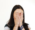 Woman hide her face Royalty Free Stock Images