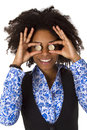 Woman hiding her eyes with euro coins beautiful african american Royalty Free Stock Photography