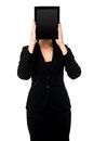 Woman hiding her face with tablet pc corporate lady Stock Images