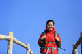 Woman hiker and blue sky portrait of hiking young asian at mountain peak under Stock Photo