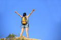 Woman hiker mountain top young fit asian Stock Photography