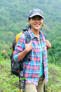 Woman hiker at mountain young asain hiking Royalty Free Stock Photos