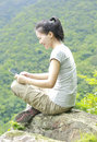 Woman hiker use tablet young asian mountain peak Royalty Free Stock Images